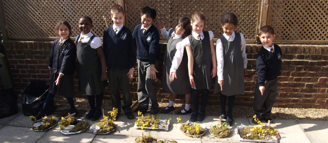 Vine Christian School children with easter gardenes